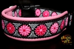 dogs-art Daisy Dot Easy Release Buckle Leather Collar - pink/black/daisy dot pink