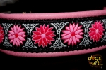 dogs-art Daisy Dot Easy Release Alu Buckle Leather Collar - pink/black/pink