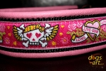 dogs-art Pinky Skulls Martingale Leather Collar - pink/black/pink