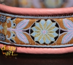 dogs-art Pinwheel Zinnia Easy Release Alu Buckle Leather Collar - pink/brown/zinnia aqua