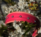 dogs-art Extravaganza Martingale Leather Collar - pink/hotpink/clear_pink