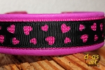 dogs-art LOVE Easy Release Buckle Leather Collar - sparkly pink/hotpink/love