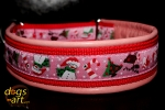 dogs-art Winterfeeling Martingale Leather Collar - pink/red/winterfeeling pink
