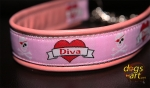 dogs-art Diva Martingale Chain Leather Collar - pink/silver/diva