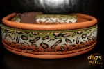 dogs-art Cheetah Easy Release Buckle Leather Collar - pumpkin brown/black/cheetah olive