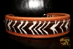 dogs-art Zebra Martingale Chain Leather Collar - pumpkin brown/orange/Zebra brown