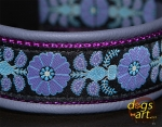 dogs-art Heart Flower Easy Release Buckle Leather Collar - purplegrey/purple/heartflower