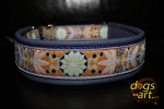 dogs-art Pinwheel Zinnia Easy Release Alu Buckle Leather Collar - purple grey/purple/zinnia aqua