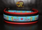 dogs-art Dragons Martingale Leather Collar - red/black/dragons