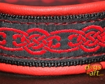 dogs-art Celtic Knot Martingale Leather Collar - fire red/black/celtic knot red