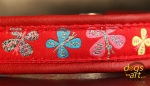 dogs-art Butterfly Easy Release Buckle Leather Collar - red/red/butterfly