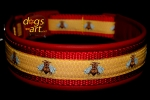 dogs-art Honey Bee Easy Release Buckle Leather Collar - fire red/red-honey bee