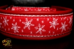 dogs-art Winter Wonderland Martingale Leather Collar - fire red/white/winter wonderland red