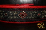 dogs-art Flower Star Easy Release Buckle Leather Collar - red two toned/black/flower star red