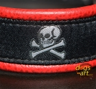 dogs-art Skulls Martingale Leather Collar - red two toned/black/skulls black-silver