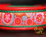 dogs-art Crazy Flower Easy Release Buckle Leather Collar- red two toned/green/crazy flower orange
