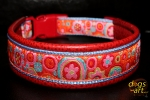 dogs-art Crazy Flower Easy Release Buckle Leather Collar - red two toned/light blue/crazy flower
