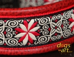 dogs-art Pinwheel Zinnia Easy Release Alu Buckle Leather Collar - red two toned/red/zinnia red