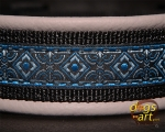 dogs-art Coral Easy Release Buckle Leather Collar - smoke/black/coral blue