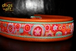 dogs-art Crazy Flower Martingale Chain Leather Collar - tangerine/mint/crazy flower