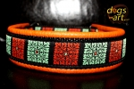 dogs-art Flower Quarter Martingale Leather Collar - tangerine/black/orange