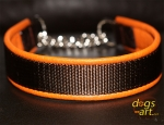 dogs-art Beautiful Plain Martingale Chain Leather Collar - tangerine/brown