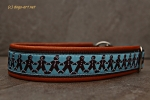 dogs-art Gingerbread Men Martingale Leather Collar - tangerine/brown/gingerbread men blue