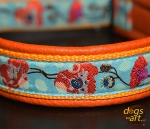 dogs-art Poppy Martingale Leather Collar- tangerine/sun yellow/poppy