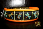 dogs-art Dragonfly Easy Release Buckle Leather Collar - tangerine/yellow/dragonfly
