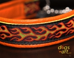 dogs-art Flames Martingale Chain Leather Collar - tangerine/yellow/flames