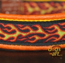 dogs-art Flames Easy Release Alu Buckle Leather Collar - tangerine/yellow/flames